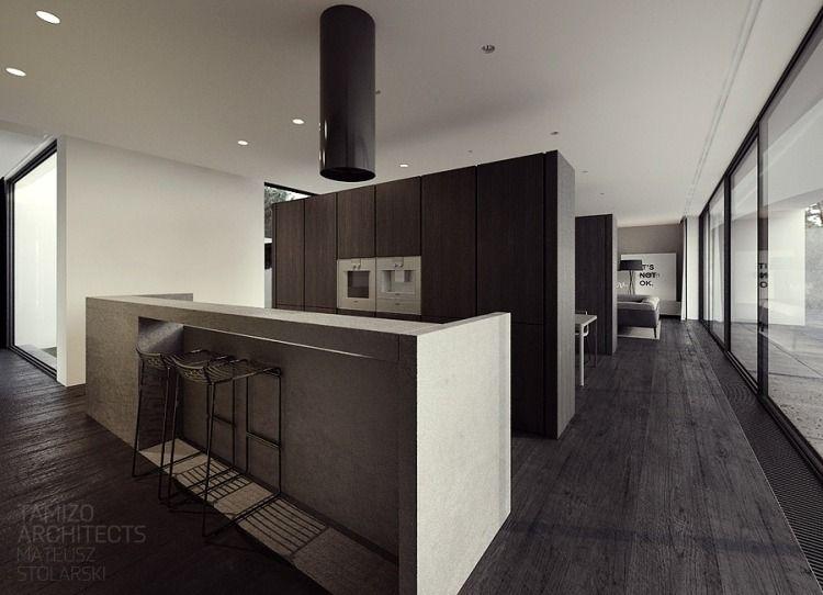 schwarzer Boden mit Holzoptik im ganzen Haus | küche | Pinterest ...