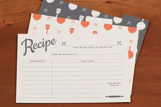 Printable Recipe Template - what a cute idea for a shower gift!