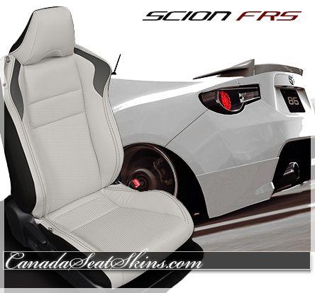 Scion FRS Custom White Leather Interior   Canadaseatskins.com #leatherseats  #scion #frs