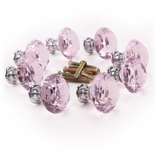 8 x Poignée Bouton rose diamant bling décoration porte meuble tiroir - bouton de porte meuble salle de bain