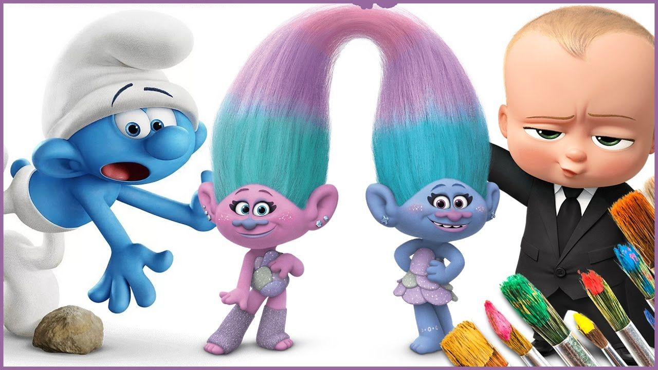 Coloring Pages Trolls : Coloring smurfs trolls movie the boss baby coloring pages