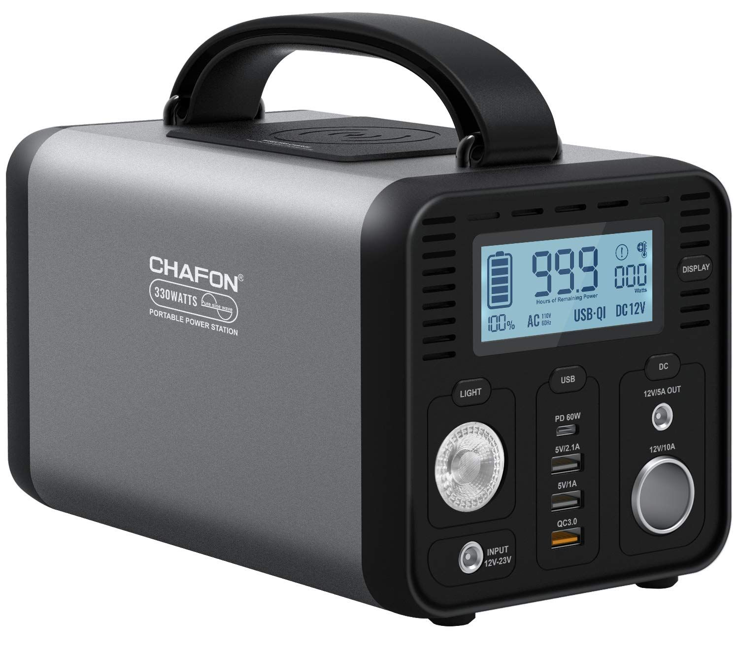 Chafon Portable Power Station Cf290 296wh Lithium Battery Backup 110v 330w Pure Sine Wave Ac Outlet Solar Generator For Outdoors Camping Road Trips Emergency