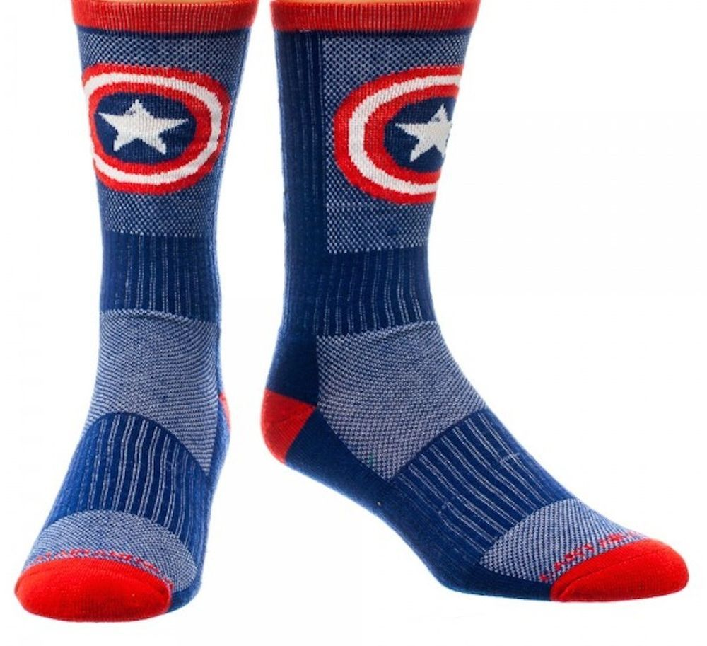 MARVEL Comics Captain America High Performance Active Crew Socks New Licensed #MarvelComics #crew
