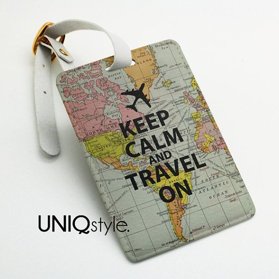 Keep Calm And Travel On Luggage Tag Bag Name Office Suitcase With Straps Map L71
