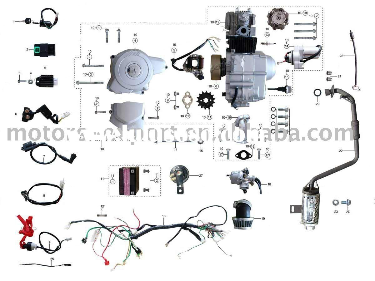 coolster 110cc atv parts furthermore pit bike engine diagram and wiring for chinese 110 [ 1200 x 900 Pixel ]