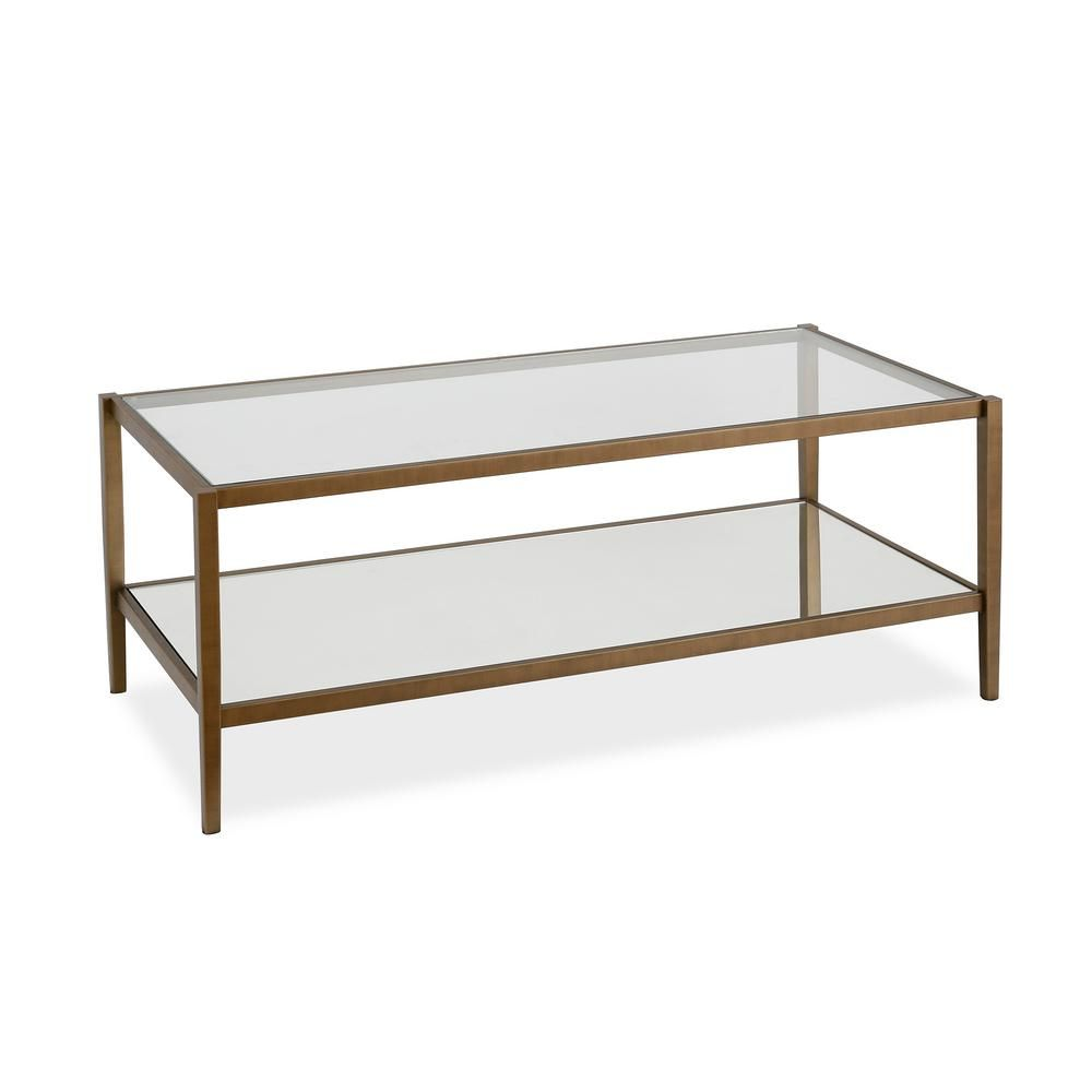 Meyer Cross Wilda 45 In Clear Brass Large Rectangle Glass Coffee Table With Mirrored Shelf Ct0143 The Home Depot Coffee Table Rectangle Glass Coffee Table Glam Coffee Table [ 1000 x 1000 Pixel ]