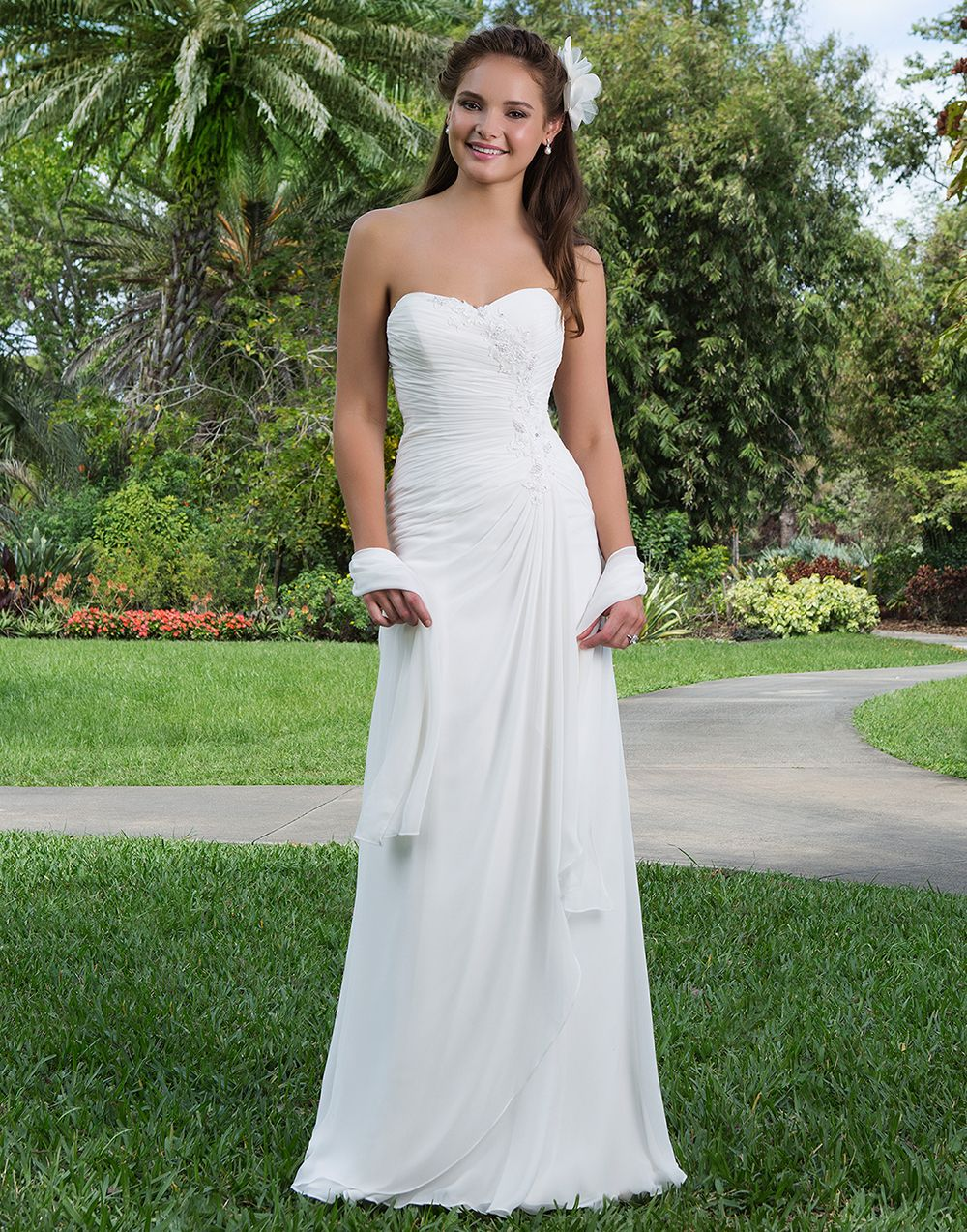 32f2a0d858d Sweetheart Gowns sweetheart style 6111 A sweetheart asymmetrically draped A- line chiffon gown featuring a beaded motif