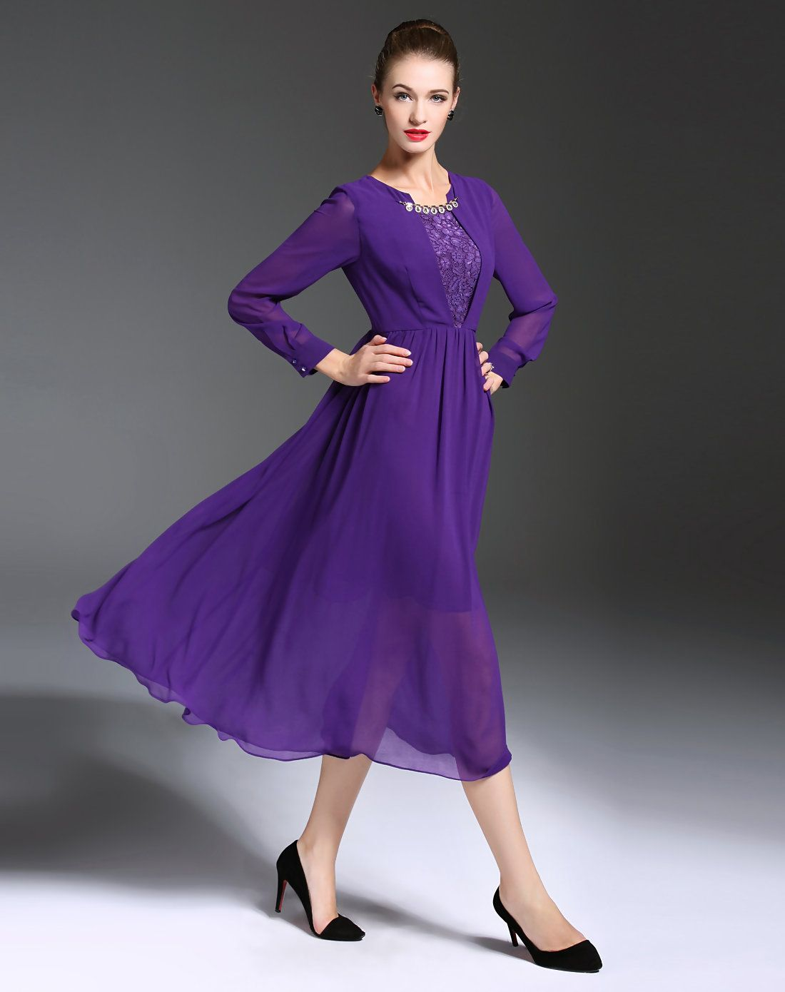 Adorewe vipme swing dresses gyalwana purple long sleeve elegant