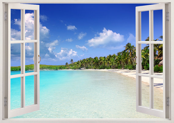 Tropical Caribbean Beach Wall Decal 3d Window Tropical Beach Wall