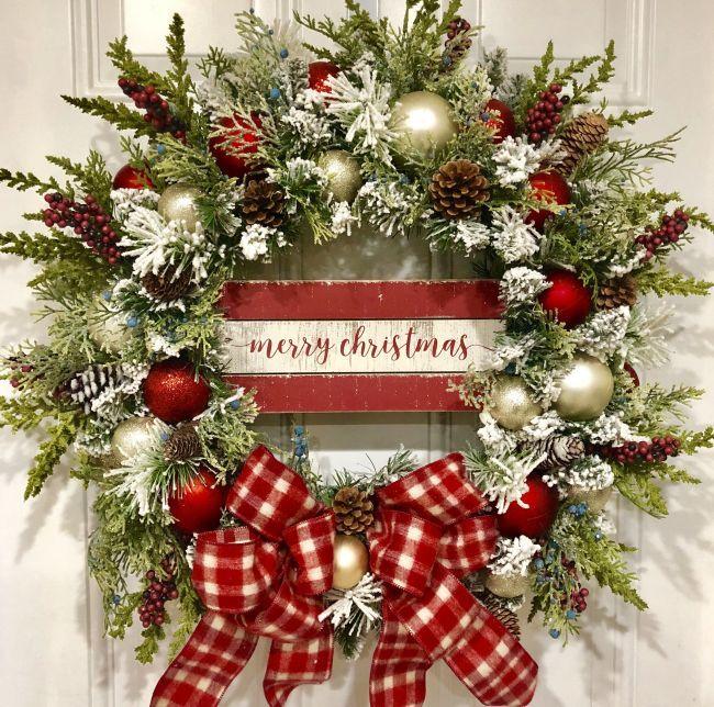 Christmas Decor Red Christmas Wreath Holiday Wreath Xmas Wreath Christmas Wreath Rustic Christmas Wreath Winter Wreath Red Wreath