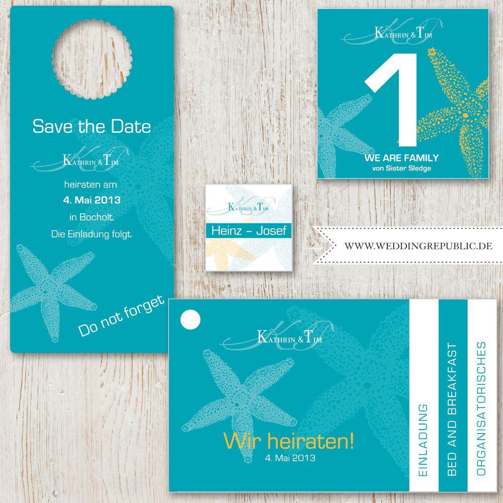 Hochzeit Einladung | Wedding Invitation | Save The Date | Maritim |  Seestern | Maritime |