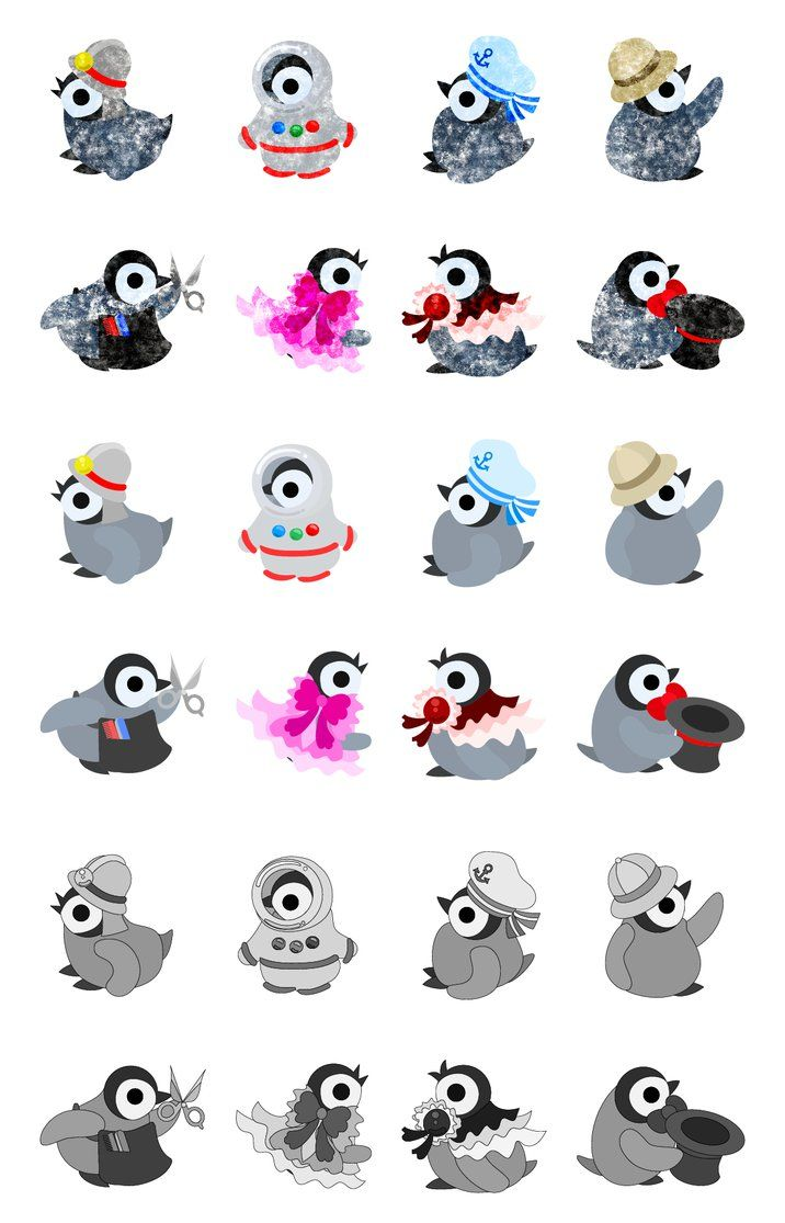 フリーのイラスト素材可愛い赤ちゃんペンギンのアイコン The Icons