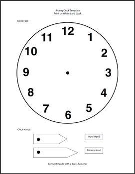 Clock Template - Analog Activity | Education | Clock
