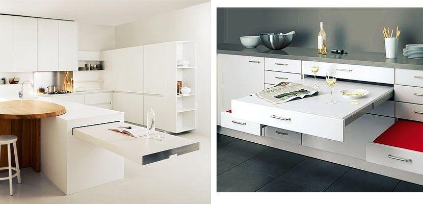 Mesas de cocina cocinas peque as soluciones kitchen for Soluciones apartamentos pequenos