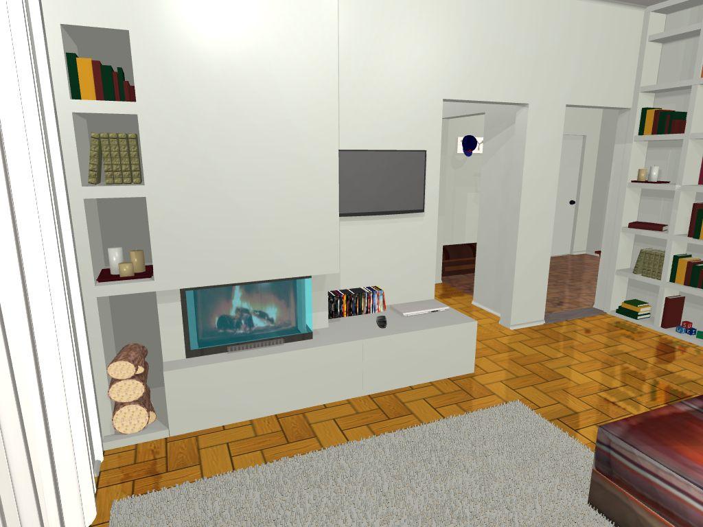 il caminetto integrato nella libreria in cartongesso www ...