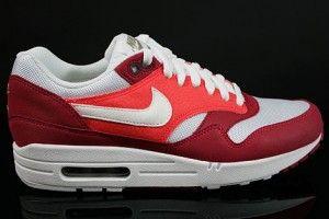 Nike air max heren lichtrood donkerrood zeil wit olijfgroen