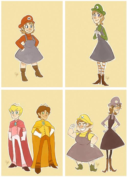 Genderbent Mario Characters Maria Luigia Prince Salmon Prince