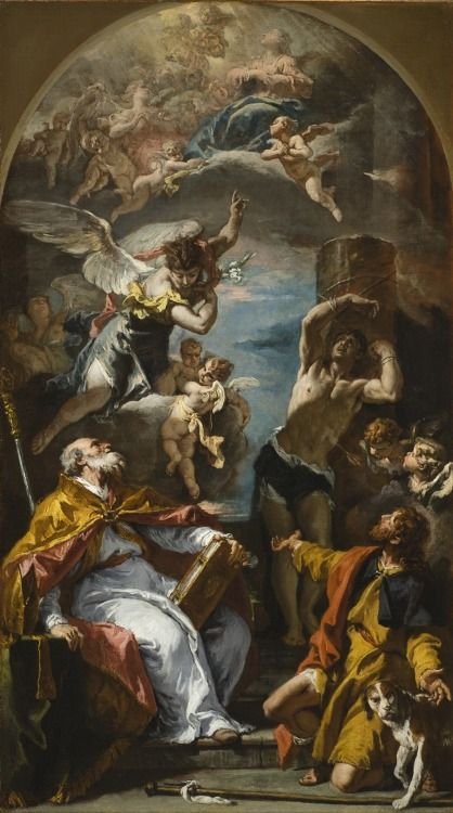 The Virgin in Glory with the Archangel Gabriel and Saints Eusebius, Roch, and Sebastian by Sebastiano Ricci