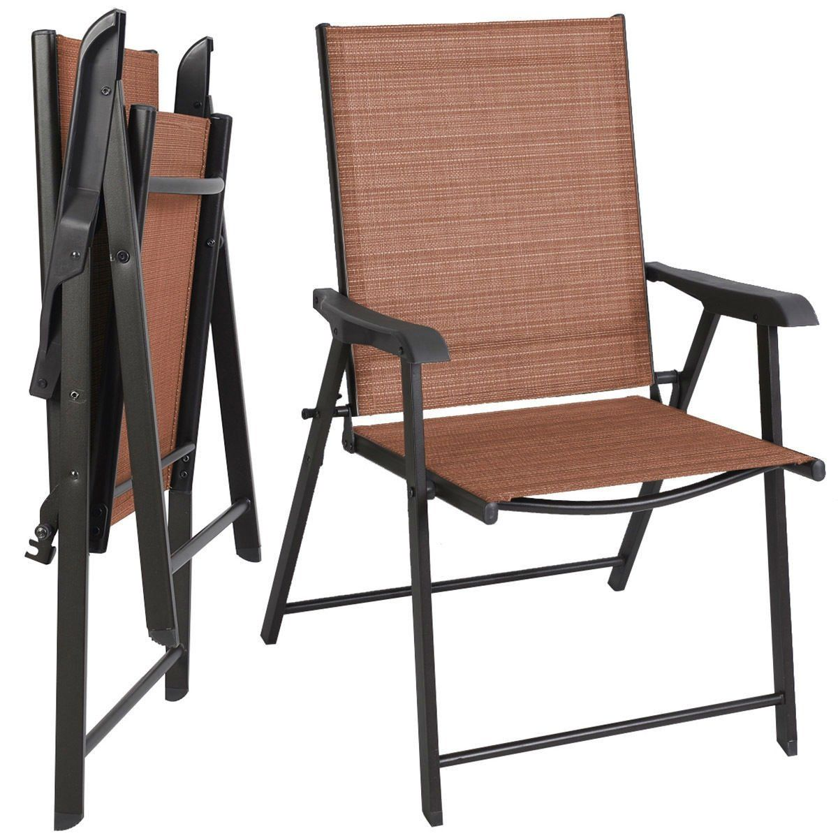 Set Of 2 Outdoor Folding Patio Chairs, Red And Black Folding Patio Chairs