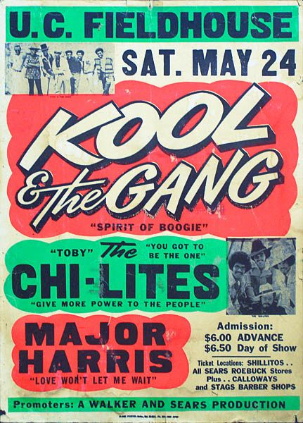 Looking at a Kool & The Gang concert poster from back in the days feat. The  Chi-Lites & Major Har… | Vintage music posters, Concert posters, Vintage  concert posters