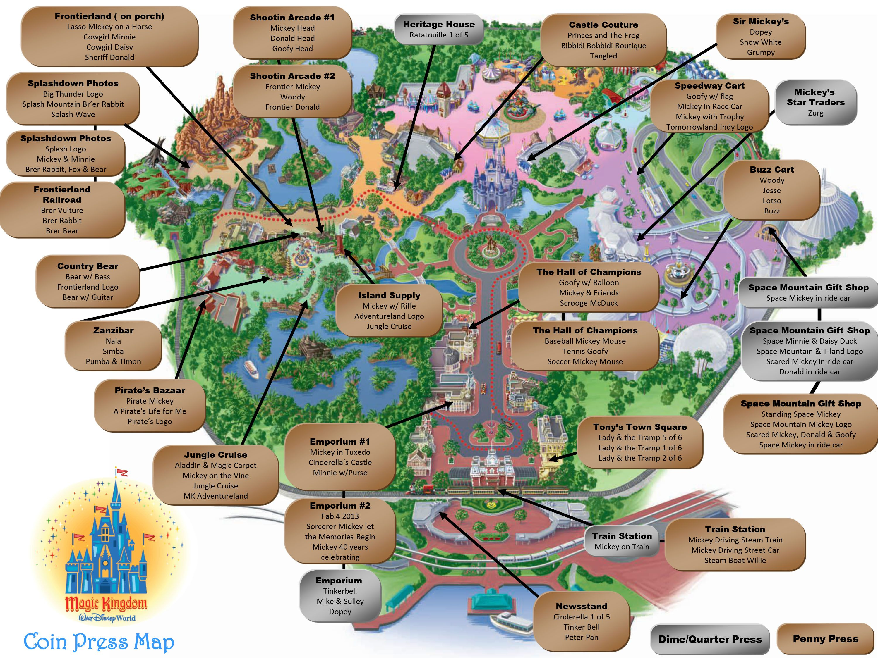 Magic Kingdom Pressed Pennies Map | Mickey Magic in 2019 | Walt ...