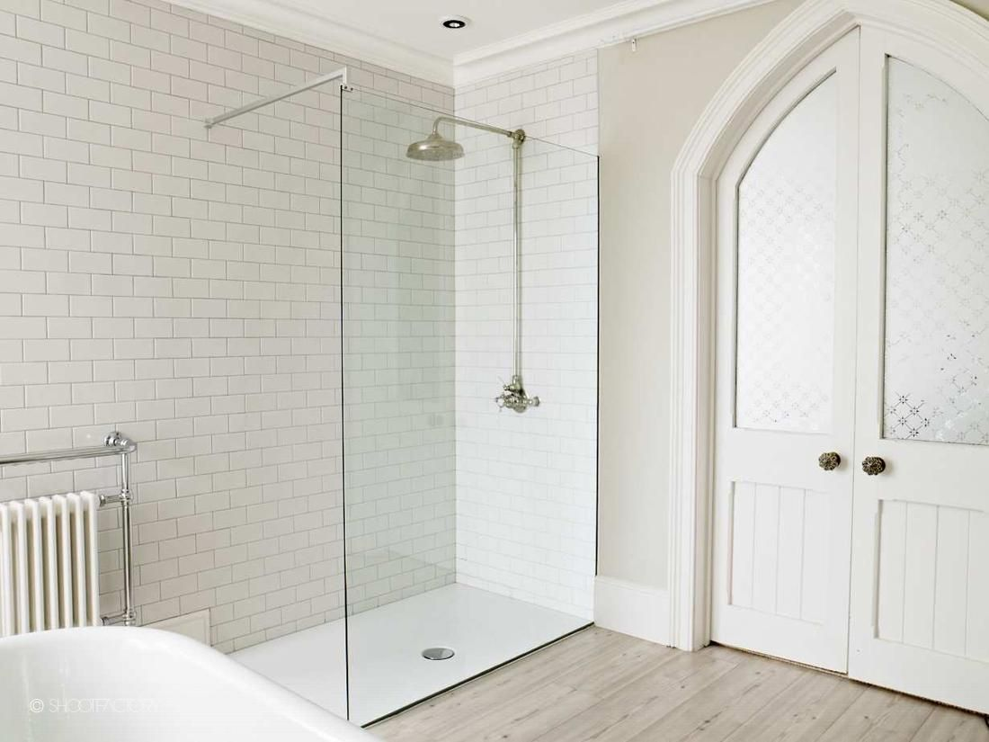 Metro tiles and large walk in shower with victorian shower head ...