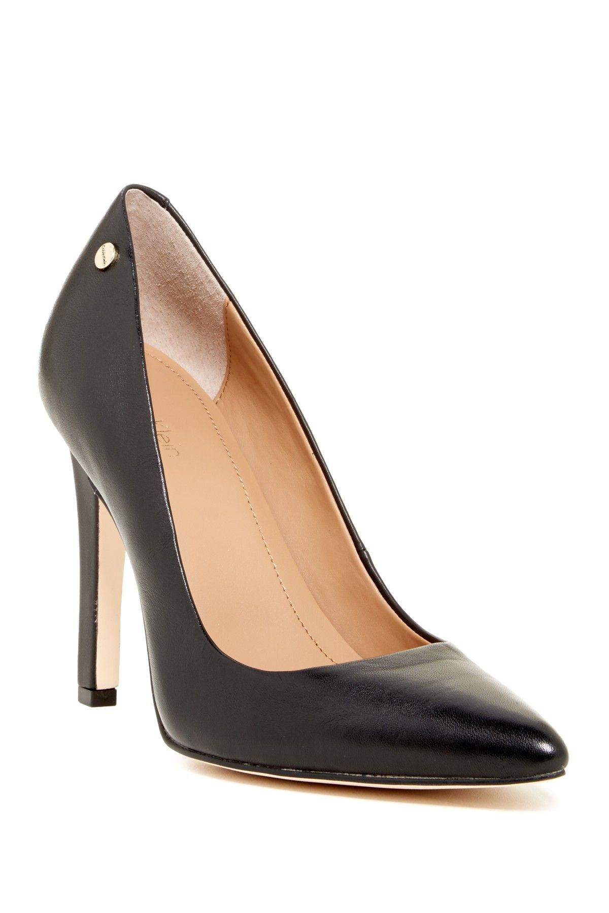 abea98dd588 Calvin Klein | Brady Leather Pointed Toe Pump - Wide Width Available ...