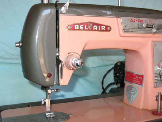 RESERVED For Julie Of RicRacandPolkaDots 40s Vintage PINK Bel Air Cool Belair Sewing Machine