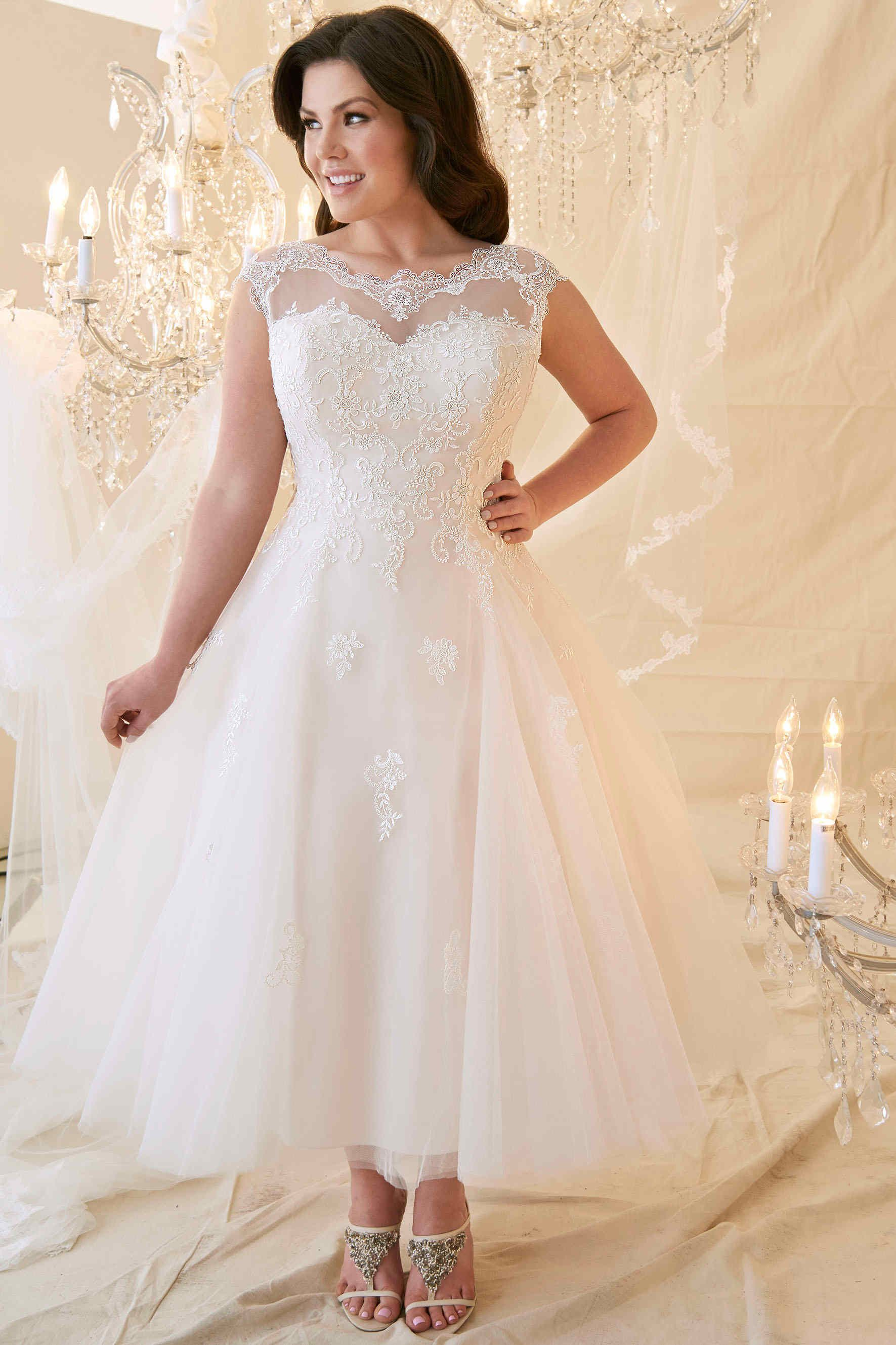 a43e8d93d821 $225.29 Ankle Length Cap Sleeve Lace Bodice Wedding Dress www.ucenterdress.....  Made to measure & Free Shipping! Shop lace wedding dresses, off the  shoulder ...