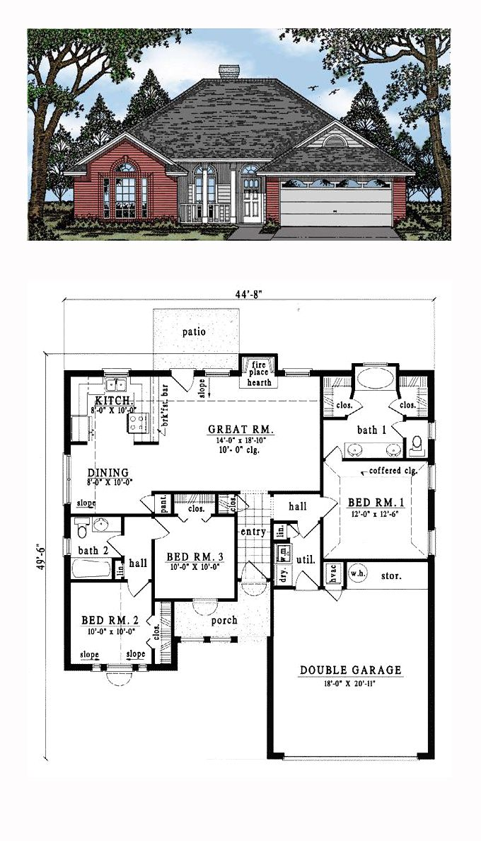 OneStory Style House Plan 79052 with 3 Bed , 2 Bath , 2