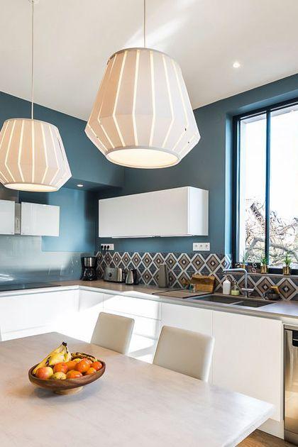 Cuisine  crédence en carreaux de ciment Dining area and Interiors - repeindre un evier de cuisine
