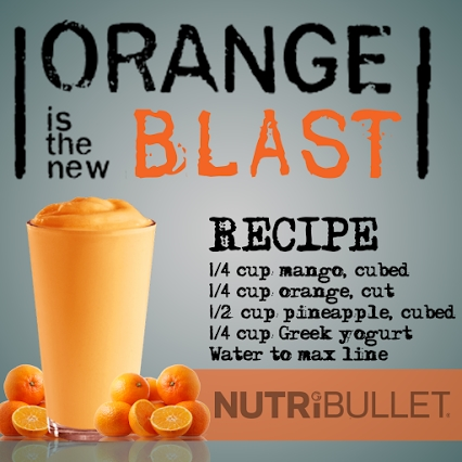 Orange is the New Blast recipe #nutribullet (Re-Pinner note: we added banana and orange sherbet) #weightlossusa