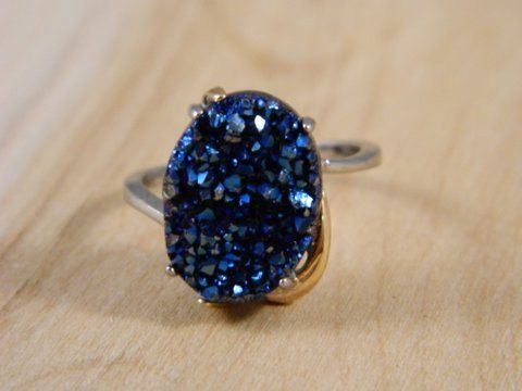 Blue Drusy Quartz Sterling Silver And Vermeil Ring Vintage Glittering Druzy Size 8