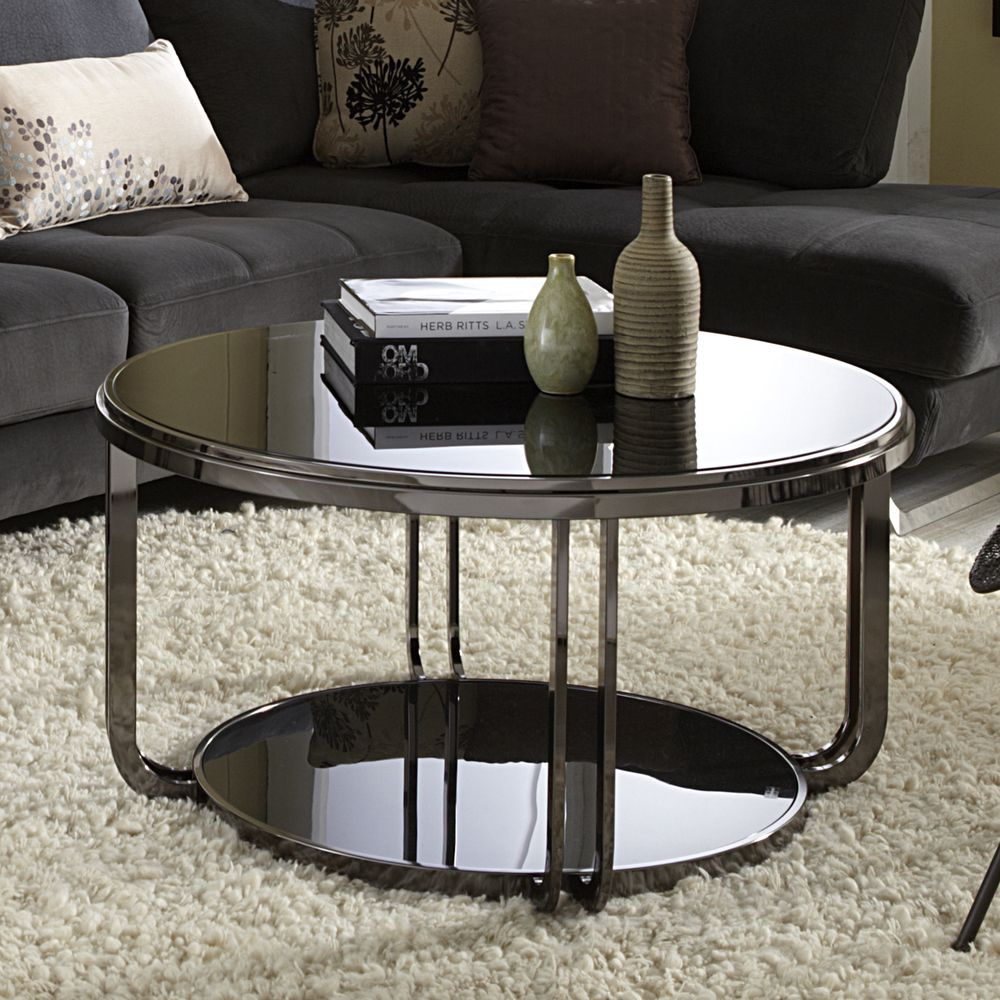 Edison Black Nickel Plated Castered Modern Round Coffee