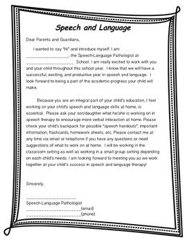 Begin Year Introduction Letter And Iep Meeting Notice Slip Speech