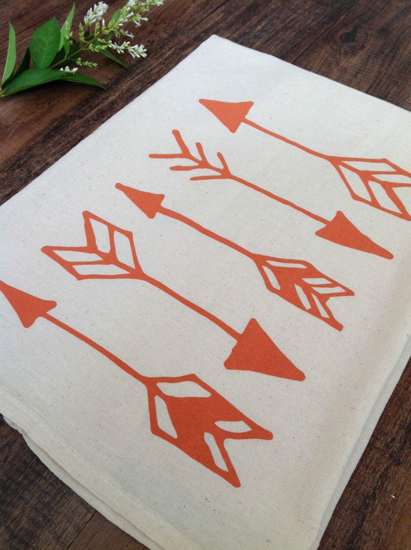 Tea Towel - Orange Arrows on Organic Natural Unbleached Screen ...