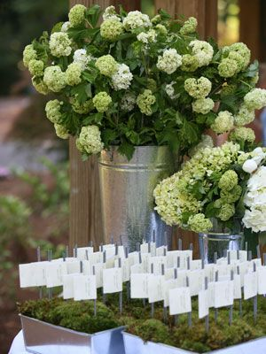 Going for a natural look at your reception? Plant your escort cards in a tray of moss and add a couple of tall green arrangements for height.
