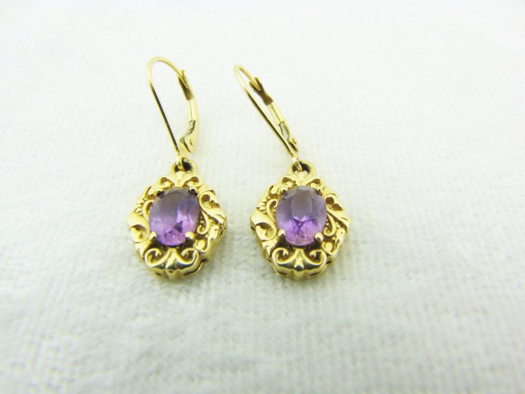 Dangle Drop Amethyst Earrings 14k Yellow Gold Estate Heirloom Jewelry Purple Lavender Gifts For Her By