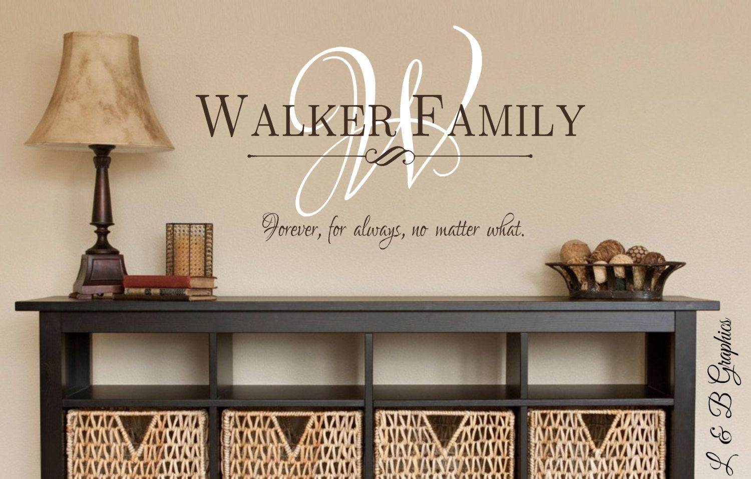 Family Name Monogram Forever For Always No Matter WhatVinyl Wall - Wall decals entryway