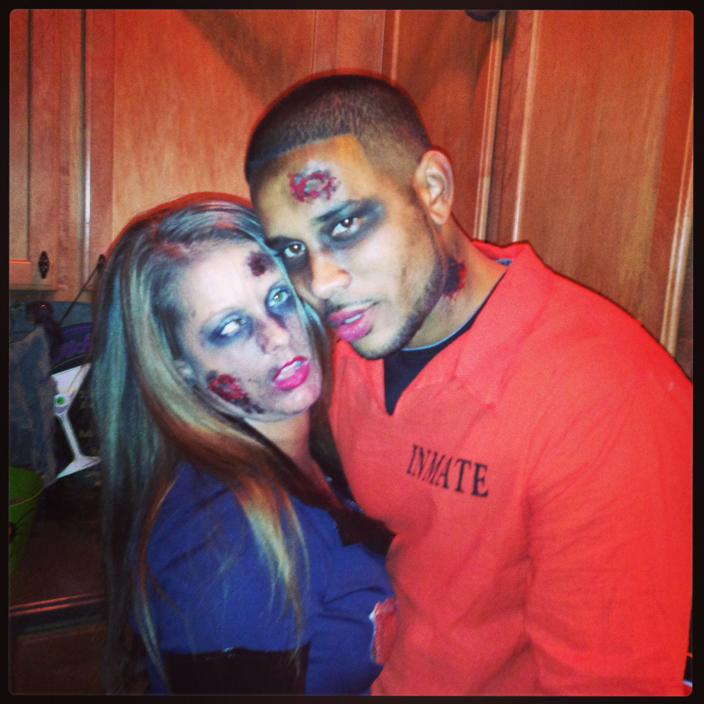 Zombie. Do your own zombie makeup:: Elmer's glue mixed with red food coloring