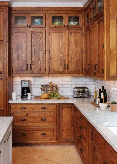 Marble Counter Tops, White Subway Backsplash, Tanish Floor Tile In A Craftsman  Kitchen