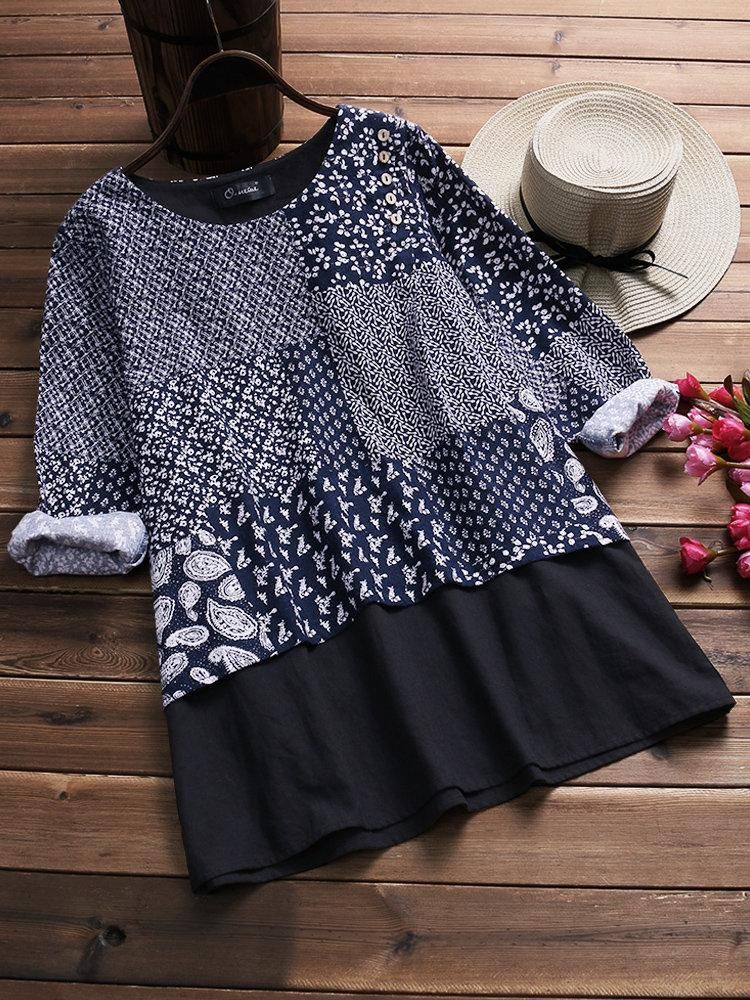 b701f3f5e21 Vintage Printed Patchwork Long Sleeve Fake Two-Piece Blouse  BlousesShirts   PlusSize