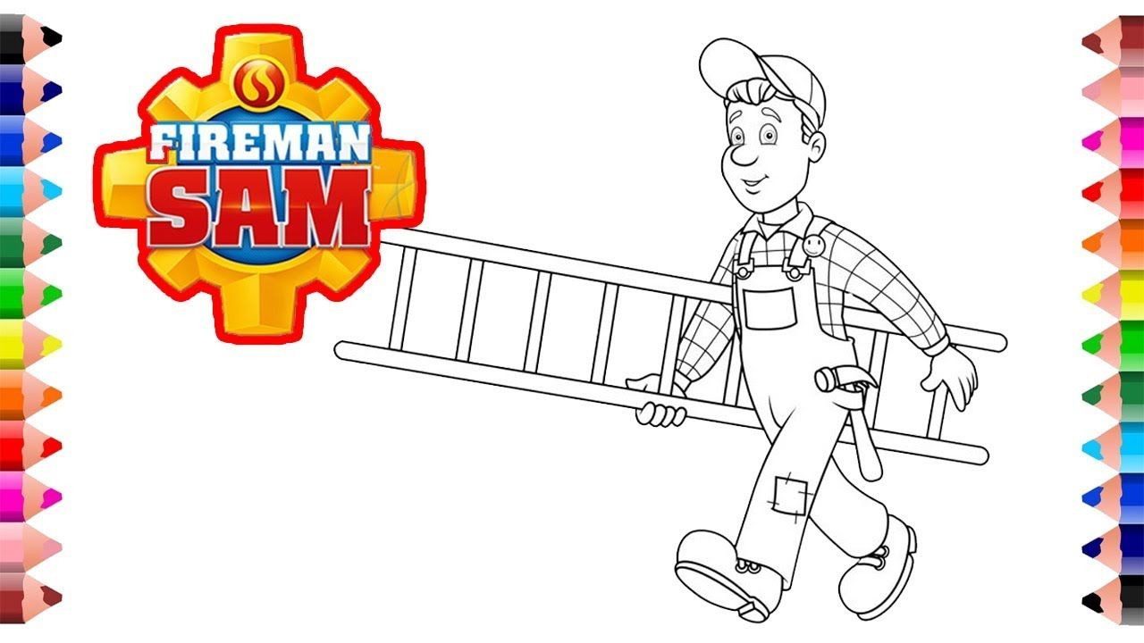 Fireman Sam coloring pages Firema sam is working