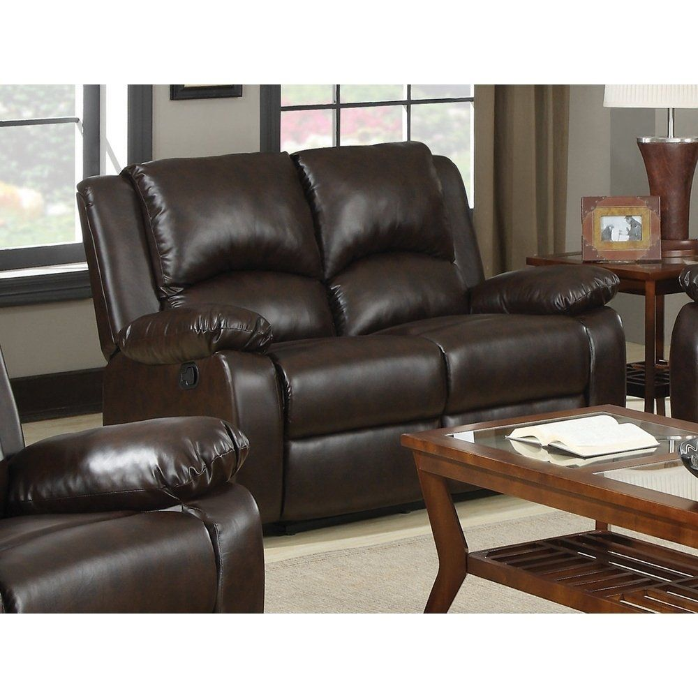 Remarkable Tierra Double Reclining Loveseat Brown Bonded Leather Gmtry Best Dining Table And Chair Ideas Images Gmtryco