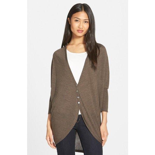 Eileen Fisher Oval Cut Merino Wool Cardigan ($298) ❤ liked on ...