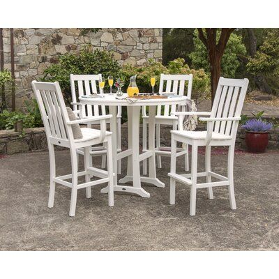 Polywood Vineyard 5 Piece Bar Height Dining Set Color White