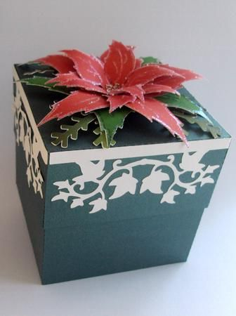 Christmas trinket gift box cameo ready on Craftsuprint designed by Lyn Simms - This box is just great for keeping trinkets in or for presenting a gift. Easy to make and will be treasured. - Now available for download!