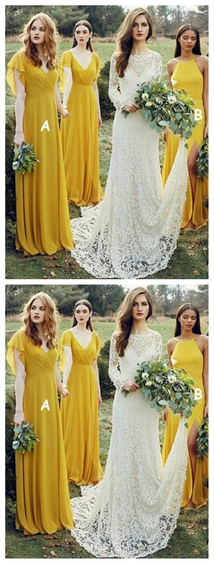 mismatched yellow long chiffon cheap bridesmaid dresses