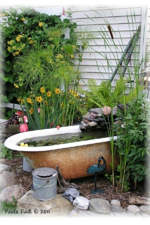 Bathtub fountain garden artistry pinterest bathtubs for Garden pool from bathtub