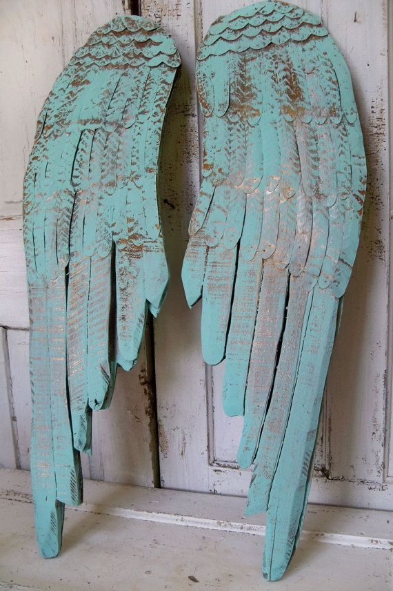 Sea glass wooden wings large wood carved wall by AnitaSperoDesign, $195.00